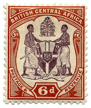 British Central Africa Protectorate - Stamp displaying the BCA coat of arms