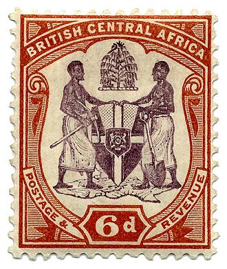 Postage stamps and postal history of British Central Africa - Six pence, 1897.