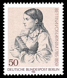 Berliner Sonderbriefmarke (1985) zum 200. Geburtstag, nach einer Radierung von Ludwig Emil Grimm (Quelle: Wikimedia)