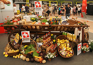 Swiss cuisine - A cart displaying food produced in Switzerland.