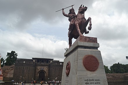 An equestrian statue of Peshwa Baji Rao I outside Shaniwar Wada. He expanded the Maratha Empire in north India c. 1730. Statue of Bajirao I.jpg