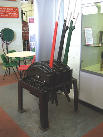North Tyneside Steam Railway - A lever frame in the museum