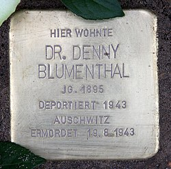 Photo of Denny Blumenthal brass plaque