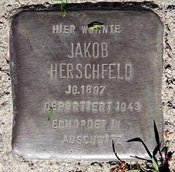 Photo of Jakob Herschfeld brass plaque
