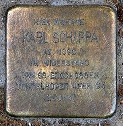 Photo of Karl Schippa brass plaque