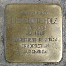 Photo of Liselotte Holz brass plaque