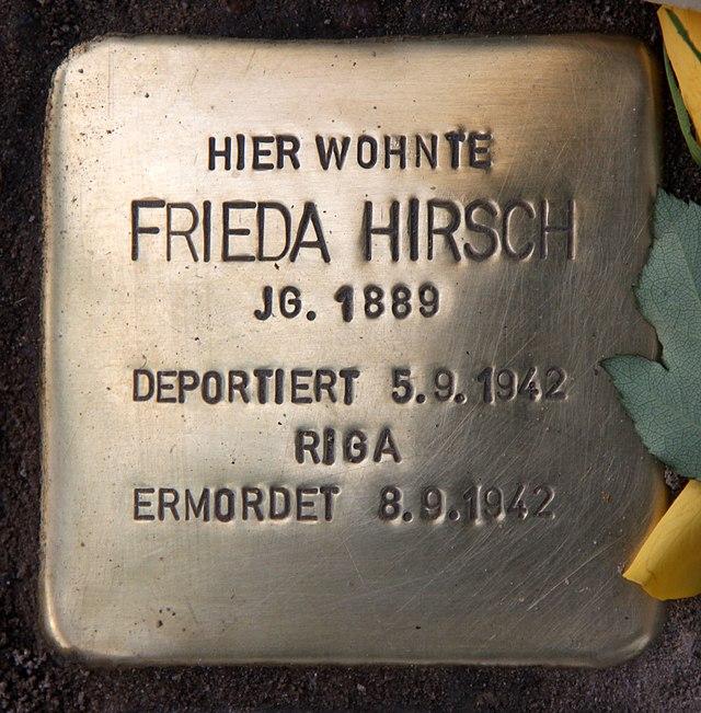 Photo of Frieda Hirsch brass plaque