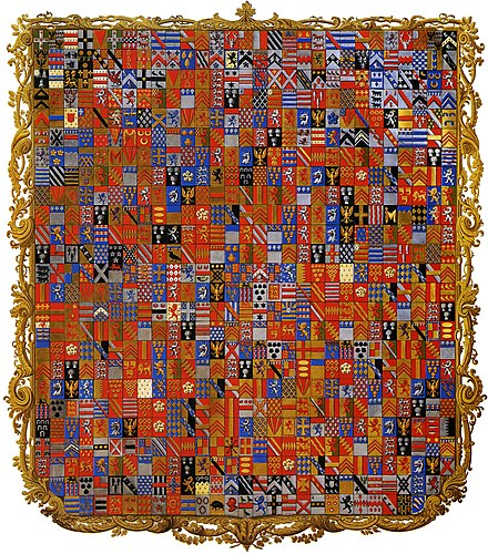 The Grenville Armorial produced between 1822 and 1839 for Richard Temple-Grenville, Marquess of Chandos, the son of the 1st Duke of Buckingham and Chandos. The centrepiece of the Gothic Library at Stowe House, it shows 719 quarterings of the family. Stowe Armorial.jpg