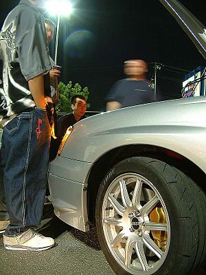 Street racers making challenges.