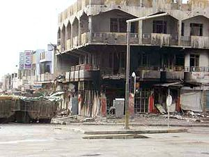 Battle of Mosul (2004) - Ruined buildings during the street fighting in Mosul.