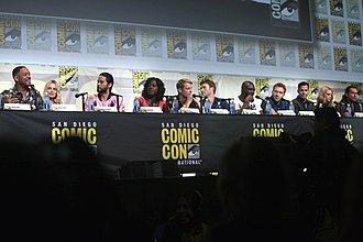 Suicide Squad (film) - Cast of Suicide Squad at the 2016 San Diego Comic-Con. From left to right: Will Smith, Margot Robbie, Jared Leto, Viola Davis, Joel Kinnaman, Scott Eastwood, Adewale Akinnuoye-Agbaje, Jai Courtney, Jay Hernandez, Cara Delevingne, and Adam Beach