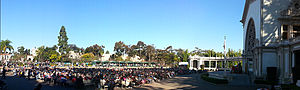 Spreckels Organ Pavilion - A Sunday afternoon concert with Carol Williams in December 2013. Nativity scene displays are present in the background in the small green sheds.