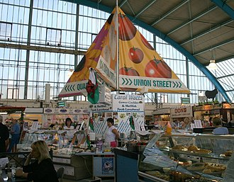 Swansea Market - Market interior, with arched portal frame roof