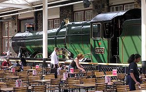 Swindon Designer Outlet - A Swindon-built locomotive (Hagley Hall) on display in the eating area of the Outlet