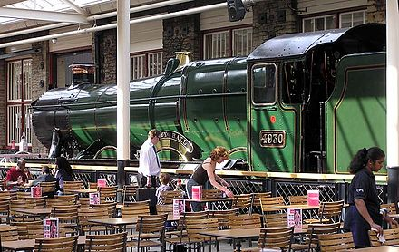 A Swindon-built locomotive (Hagley Hall) on display in the eating area of the McArthur Glen Designer Outlet, Swindon