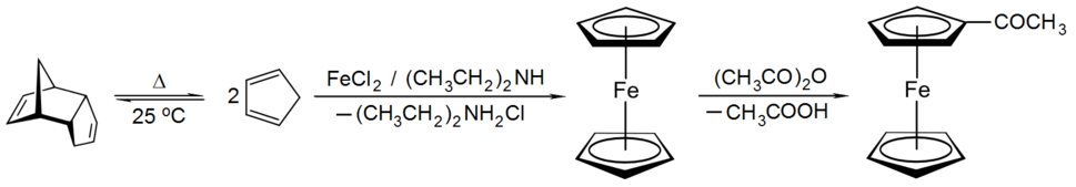 Synthesis of acetylferrocene from dicyclopentadiene