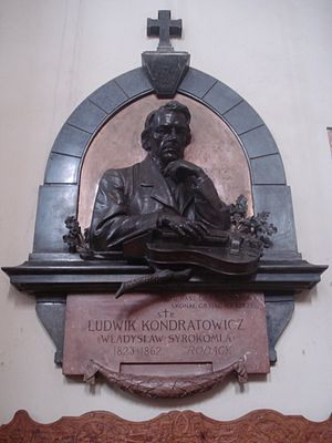 Władysław Syrokomla - Memorial of Władysław Syrokomla, in the Church of St. Johns, Vilnius, Lithuania