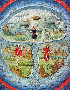 15th century adaptation of a T-O map. This kind of medieval mappa mundi illustrates only the reachable side of a round Earth, since it was thought that no one could cross a torrid clime near the equator to the other half of the globe.