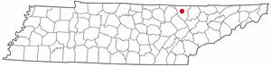Helenwood, Tennessee - Image: TN Map doton Helenwood