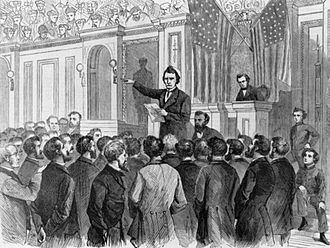 Thaddeus Stevens - Harper's Weekly woodcut of Stevens making his final argument to the House
