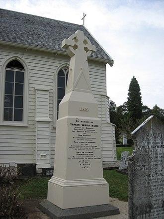 Tāmati Wāka Nene - A memorial for Tāmati Wāka Nene, in front of Christ Church, Russell (English-language side)