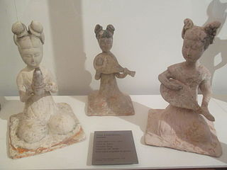 Three statuettes of musicians of the Tang dynasty