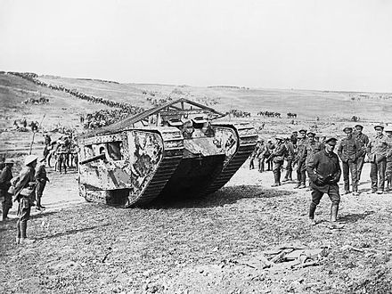 Tank preparing to advance at the Battle of Flers–Courcelette (Imperial War Museum Q 5574)