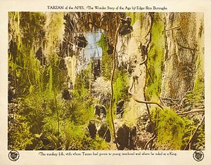 Tarzan in film and other non-print media - The lobby card from the silent 1918 incarnation of Tarzan of the Apes