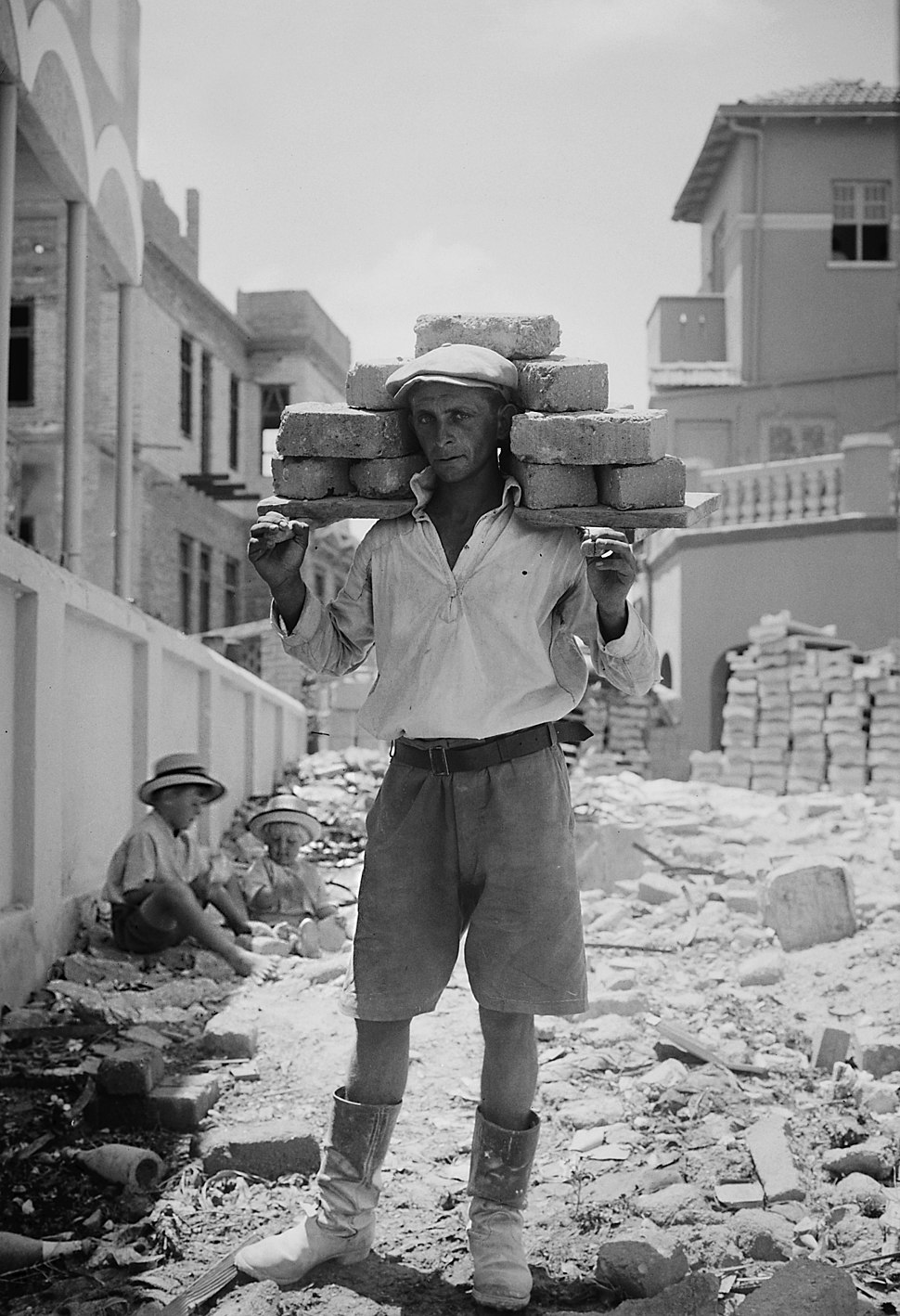 Tel Aviv carrying bricks