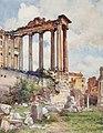 Temple of Saturn from the Basilica Julia by Alberto Pisa (1905).jpg