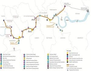 Thames Tideway Scheme - Proposed route