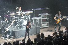 Rock band on stage in concert