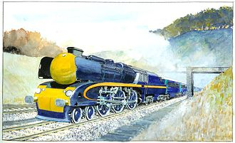 The 5AT locomotive illustrated in its final form (2011 painting by Robin Barnes).jpg