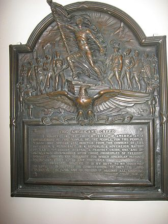 """American Creed - """"The American's Creed"""" hung in Butler University's Jordan Hall"""