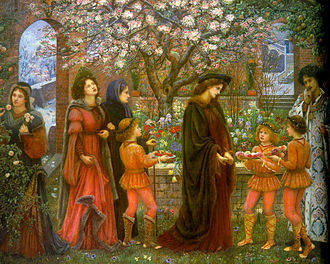 Magician (fantasy) - The Enchanted Garden of Messer Ansaldo by Marie Spartali Stillman: a magician makes a garden bear fruit and flowers in the winter for Messer Ansaldo to win the heart of a married lady.