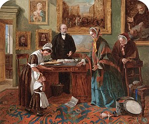 Mr. Brownlow - The Foundling Restored to its Mother (1858) by Emma Brownlow, depicting her father John Brownlow (behind desk)