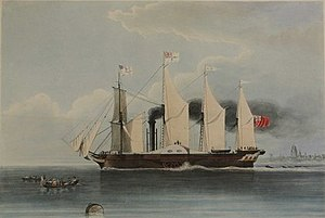 SS Great Western - The Great-Western Steam Ship in 1838, engraved by H. Papprill after a painting by J.S. Coteman