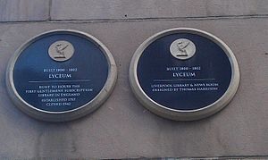The Lyceum, Liverpool - The Lyceum plaques