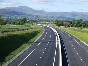 M8 motorway (Ireland) - The M8 under construction approaching the Galtee Mountains east of Mitchelstown.