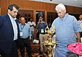 The Minister of State for Communications (Independent Charge) and Railways, Shri Manoj Sinha lighting the lamp to inaugurate the 1st HR SYMPOSIUM on ICT-Engendering New Governance Structure, in New Delhi.jpg