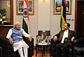 The Prime Minister, Shri Narendra Modi and the Prime Minister of Mauritius, Sir Anerood Jugnauth at the One to One meeting, in Mauritius on March 11, 2015.jpg