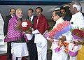 The Prime Minister, Shri Narendra Modi being received by the Governor of Andhra Pradesh and Telangana, Shri E.S.L. Narasimhan and the Chief Minister of Telangana, Shri K. Chandrasekhar Rao on his arrival, at Hyderabad (1).jpg