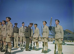 RAF Maintenance Base Safi - Lord Gort (Governor of Malta) inspects a RAF honour guard at RAF Safi in May 1943