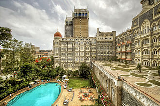 The Taj Mahal Palace Hotel - The original entrance on the west side; now the site of the hotel pool
