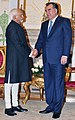 The Vice President, Shri Mohd. Hamid Ansari meeting the President of the Republic of Tajikistan, Mr. Emomali Rahmon, at Dushanbe, in Tajikistan on April 15, 2013.jpg