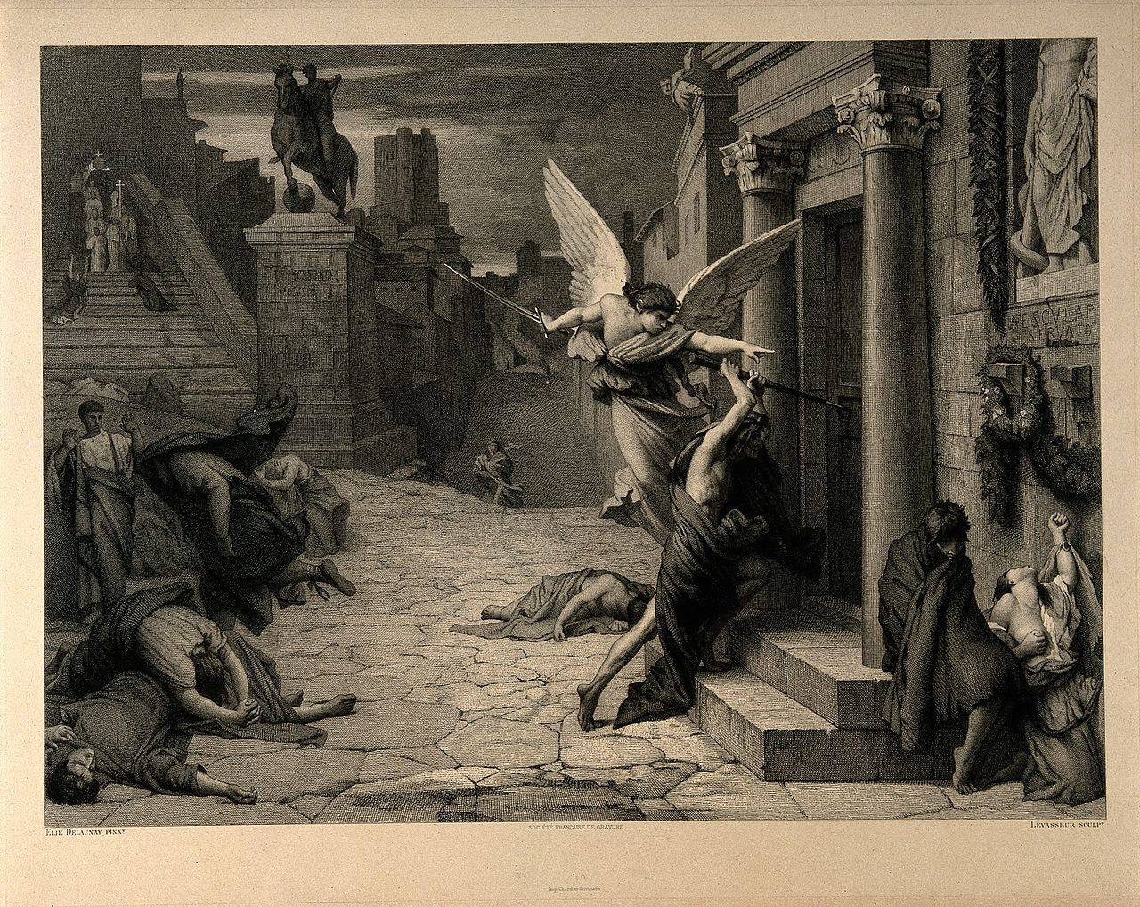 The angel of death striking a door during the plague of Rome Wellcome V0010664.jpg