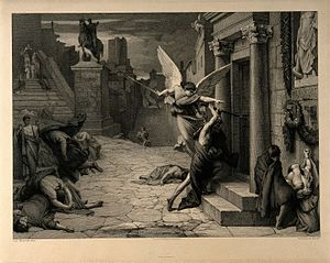 Antonine Plague - The angel of death striking a door during the plague of Rome; engraving by Levasseur after Jules-Elie Delaunay