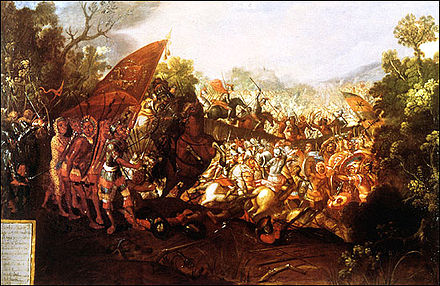 The Battle of Otumba in 1520, was fought between the Aztec Triple Alliance and Spanish conquistadors and their native allies. The battle of Otumba.jpg