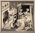 The birth of Saint Edmund, he is being nursed by a midwife w Wellcome V0014976.jpg