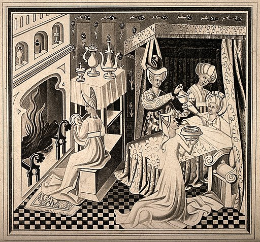 The birth of Saint Edmund, he is being nursed by a midwife w Wellcome V0014976